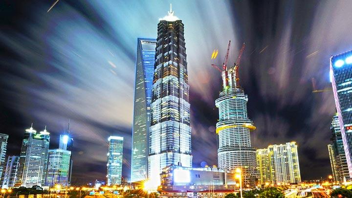 Moderne Stadt Uhrzeit Shanghai