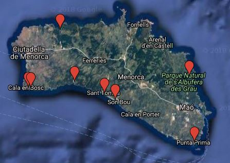 Die besten Strände auf Menorca für Familien mit Kindern - Karte
