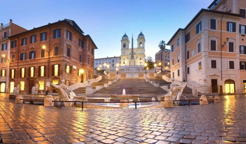 Uhrzeit Rom - spanische Treppe